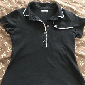 WOMENS BURBERRY BLACK POLO SHIRT SIZE M/L